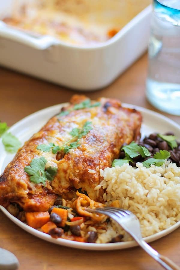 Small Batch Sweet Potato and Black Bean Enchiladas