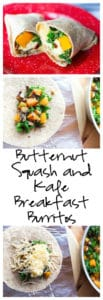 Butternut Squash and Kale Breakfast Burritos