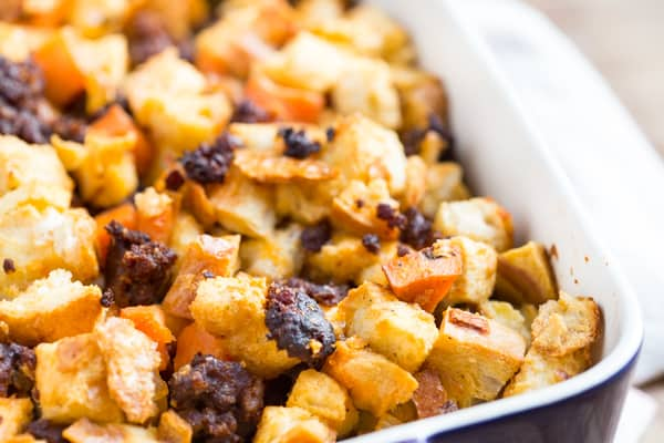 Chorizo Sweet Potato and Apple Stuffing Delicious Closeup - Tasty and Inviting