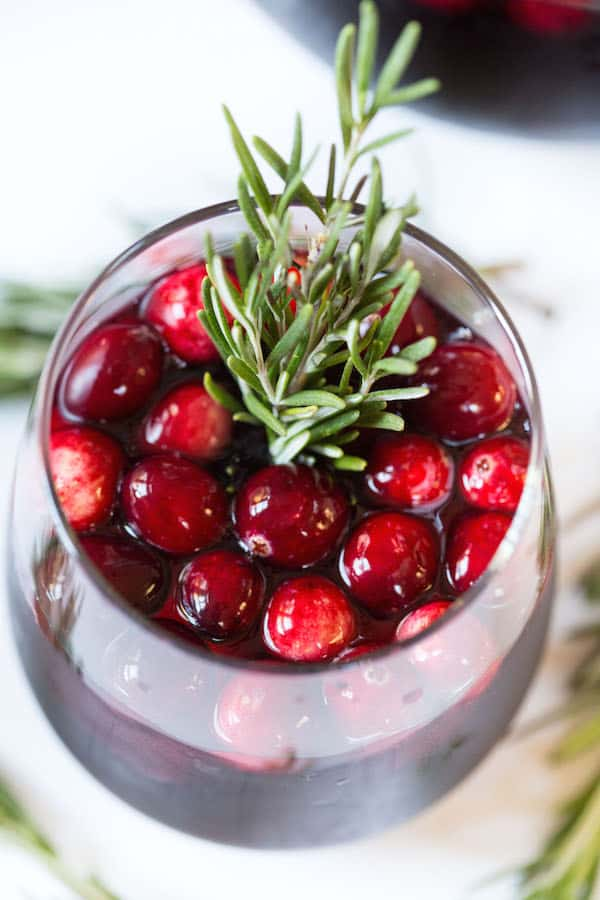 Cranberry Apple Sangria - Beautiful Overhead on This Delicious Drink