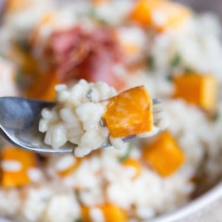 Butternut Squash Risotto with Crispy Pancetta