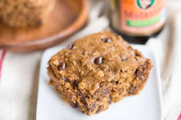 Chocolate Chip Gingerbread Oat Bars served and looking absolutely delicious