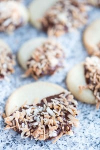 Chocolate Dipped Coconut Shortbread