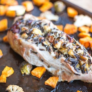 Bacon, Apple, and Wild Rice Stuffed Pork Tenderloin