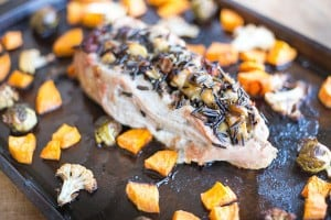 Bacon Apple and Wild Rice Stuffed Pork Tenderloin