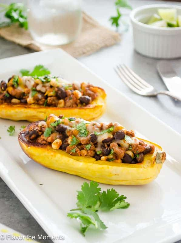 Turkey Chili Stuffed Delicata Squash