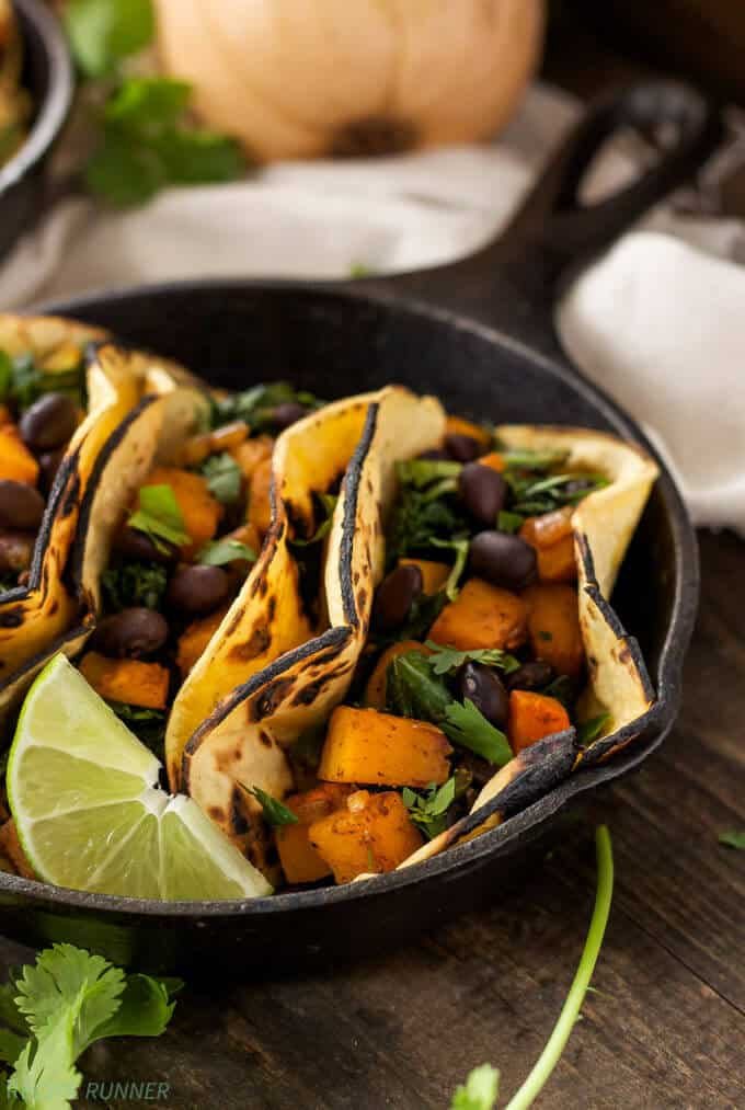 Butternut Squash Black Bean and Kale Tacos