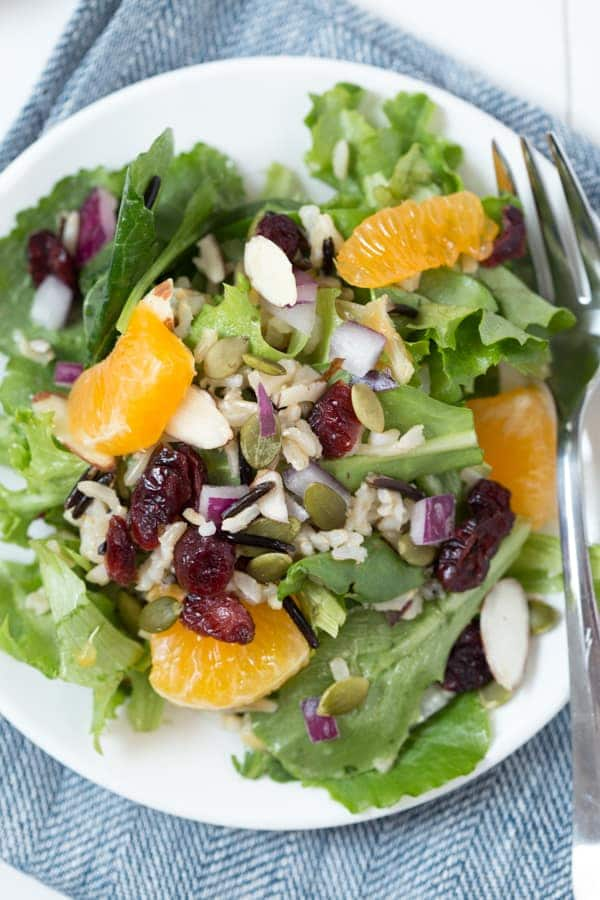 Winter Harvest Salad with Wild Rice and Cranberries