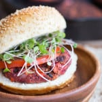 Smoky Beet and Quinoa Veggie Burgers - Closeup on the Juicy and Delicious Burger