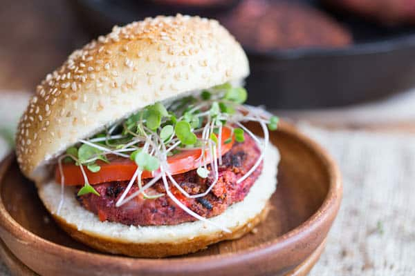 Focus on the Opened Burger with Quinoa Inside