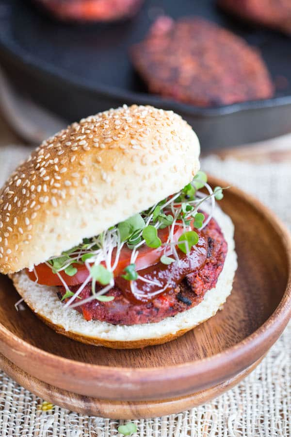 Smoky Beet and Quinoa Veggie Burgers - Beautiful Light Falling on the Bun