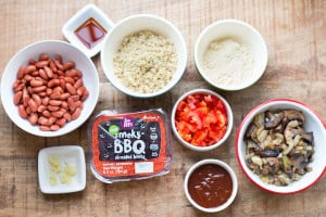 Smoky Beet and Quinoa Veggie Burgers - All the Ingredients on the Table