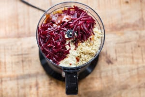 Smoky Beet and Quinoa Veggie Burgers - in the Mixer Ready to Spin