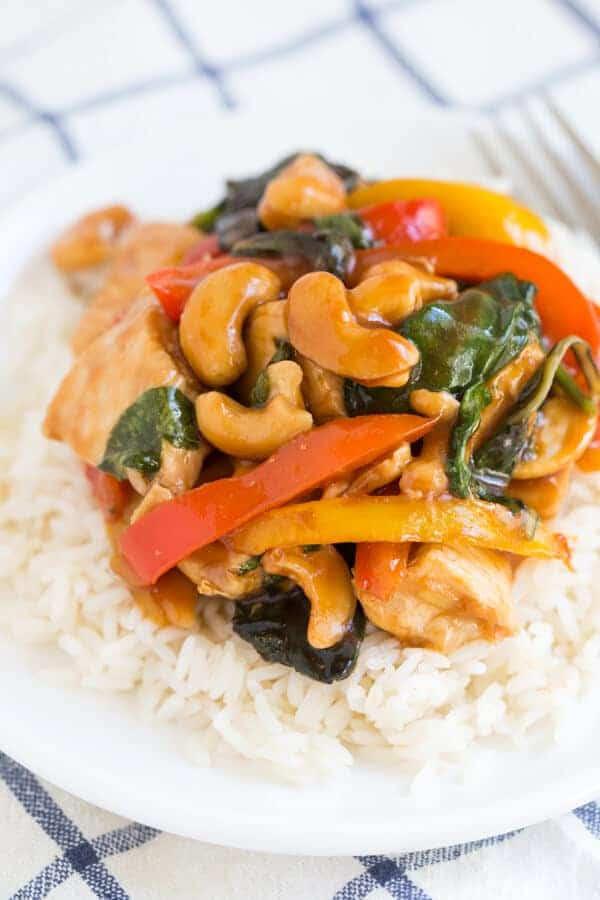 Cashew Chicken with Peppers and Greens