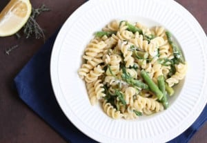Fusilli with Asparagus, Peas, and Arugula