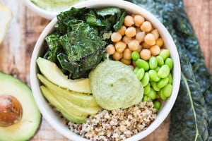 Green Goddess Quinoa Bowls Fous on the Bowl with All the Ingredients Inside
