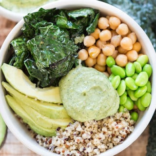 Green Goddess Quinoa Bowls - One More Closeup Shot from Above with Avocado and Greens Next to the Bowl