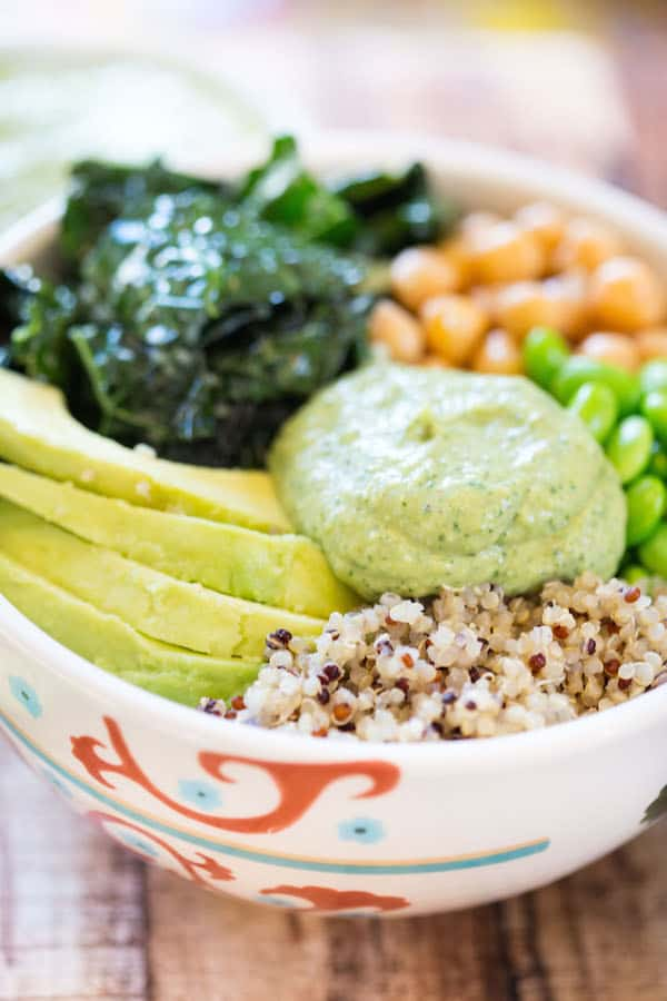 Green Goddess Quinoa Bowls - Beautiful Side Shot of the Dressing on Top of the Ingredients