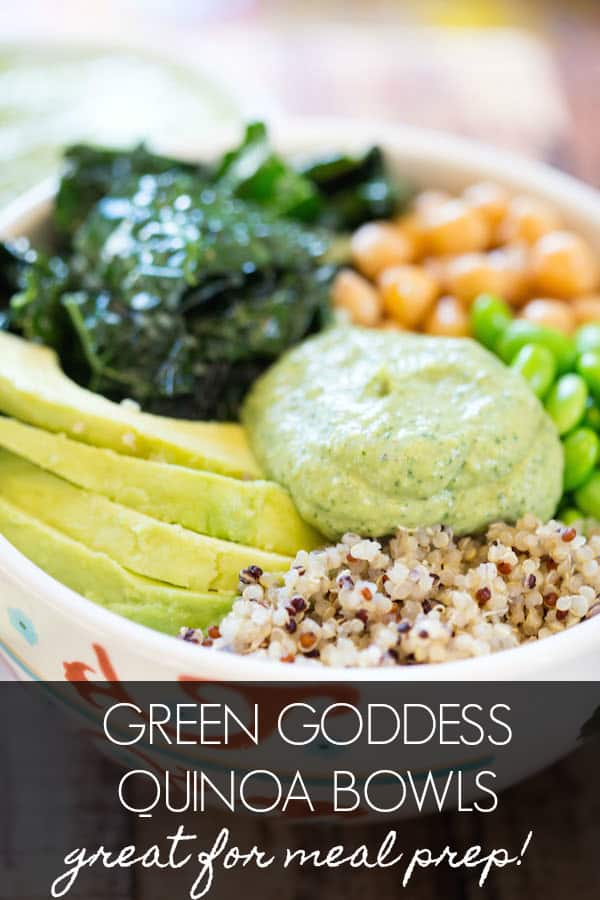 Green Goddess Quinoa Bowls Collage with Text Overlay