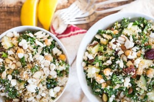 Mediterranean Quinoa and Kale Salad - Lots of Forks at the Side Next to the Two Bowls