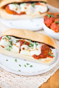 Slow Cooker Chicken Parmesan Meatball Subs