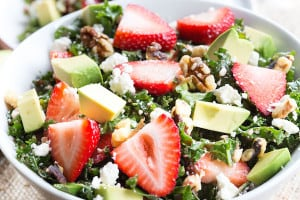 Strawberry and Avocado Kale Salad