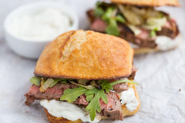 Grilled Onion Steak Sandwich with Creamy Horseradish Sauce