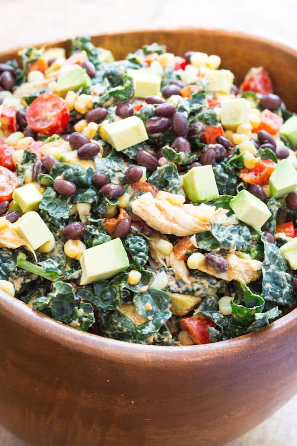 Southwestern Chicken Kale Salad | Healthy Weekly Meal Plan