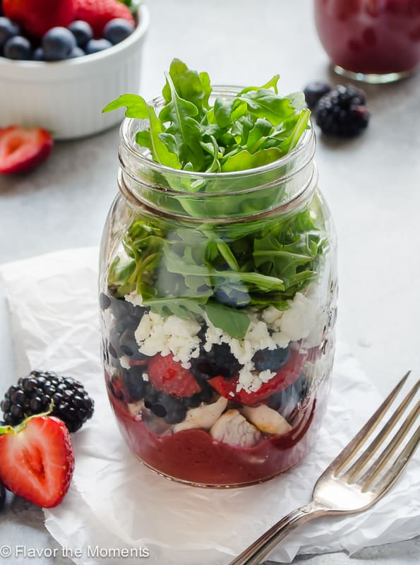 Mixed Berry Balsamic Mason Jar Salad
