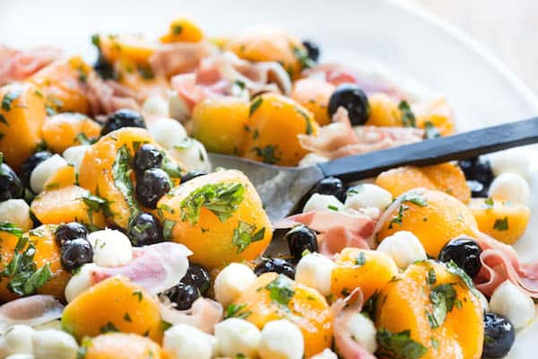 Cantaloupe Blueberry and Prosciutto Summer Salad