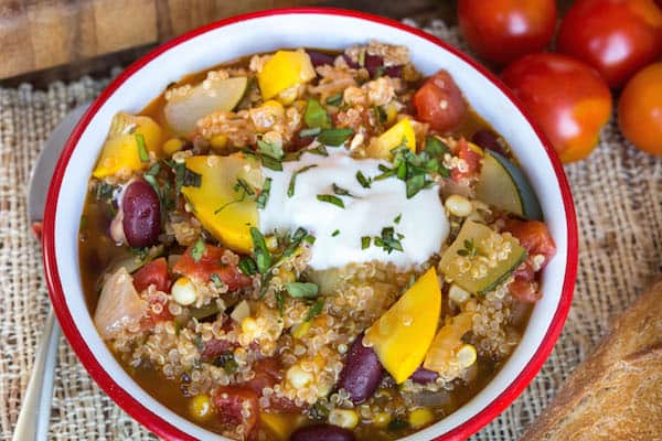 Summer Vegetable Quinoa Chili