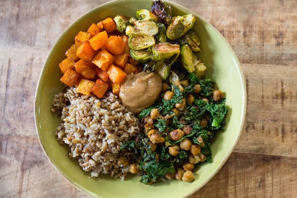 Autumn Nourish Bowls with Maple Almond Dressing - Full Bowl Centered on the Table