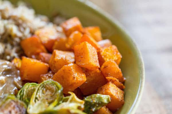 Autumn Nourish Bowls with Maple Almond Dressing - Closeup on Delicious Carrots
