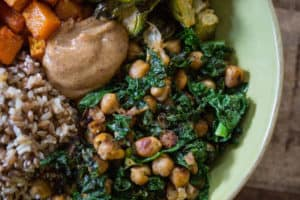 Autumn Nourish Bowls with Maple Almond Dressing - Closeup on the Bowl Full of Healthy Dish