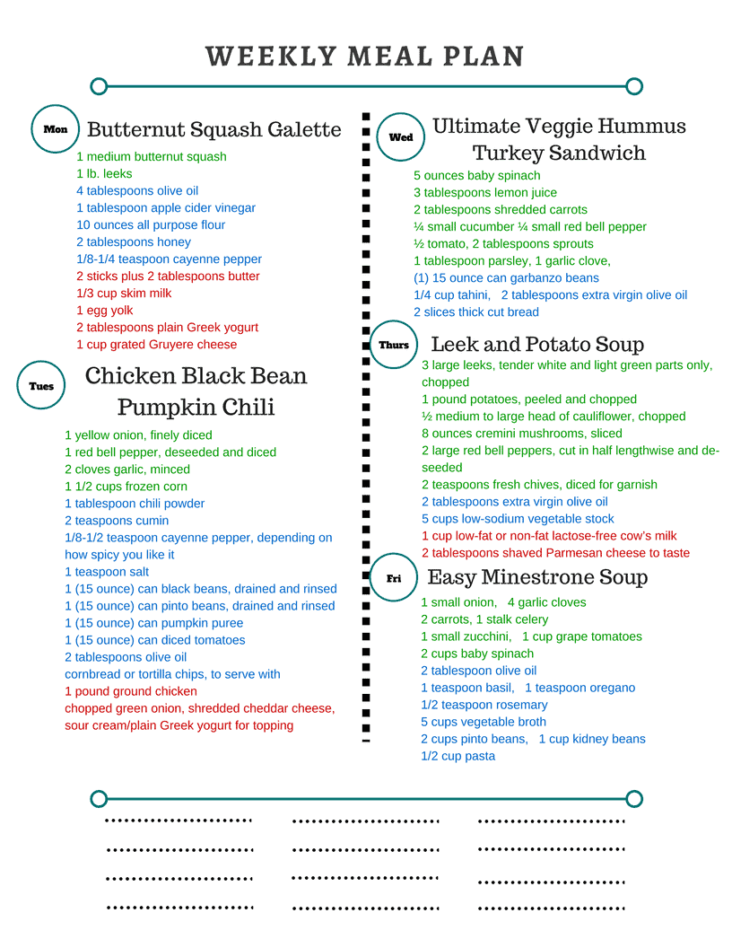 Healthy Weekly Meal Plan Grocery List