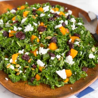 Autumn Butternut Squash and Kale Salad with Mustard Maple Vinaigrette