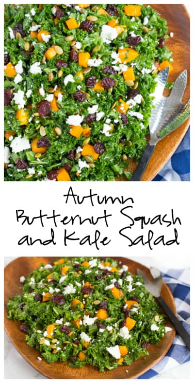 Autumn Butternut Squash and Kale Salad with Maple Mustard Vinaigrette