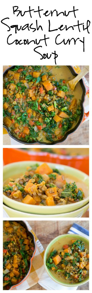 Butternut Squash Lentil Coconut Curry Soup