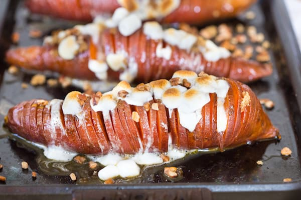 Hasselback Sweet Potato Casserole - Closeup on the Potatoes on the Tray