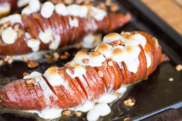 Hasselback Sweet Potato Casserole - Ready to Be Served on the Tray
