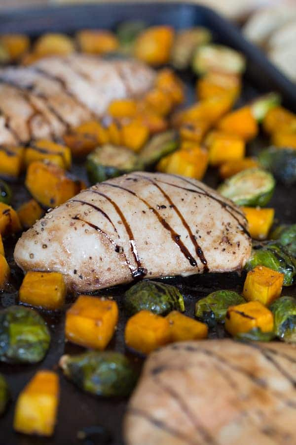 One Pan Maple Balsamic Chicken with Brussels Sprouts and Butternut Squash