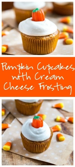 Pumpkin Cupcakes with Cream Cheese Frosting Collage with Two Images and Text Overlay