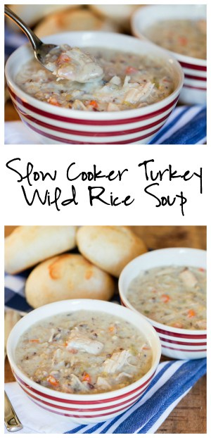 Slow Cooker Turkey Wild Rice Soup Collage with Text Overlay
