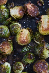 Brown Butter Roasted Brussels Sprouts - Ready to Be Served Closeup