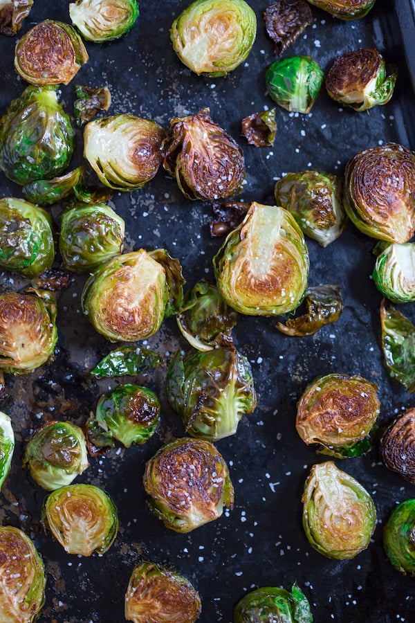 Brown Butter Roasted Brussels Sprouts Ready in the Pan Sheet