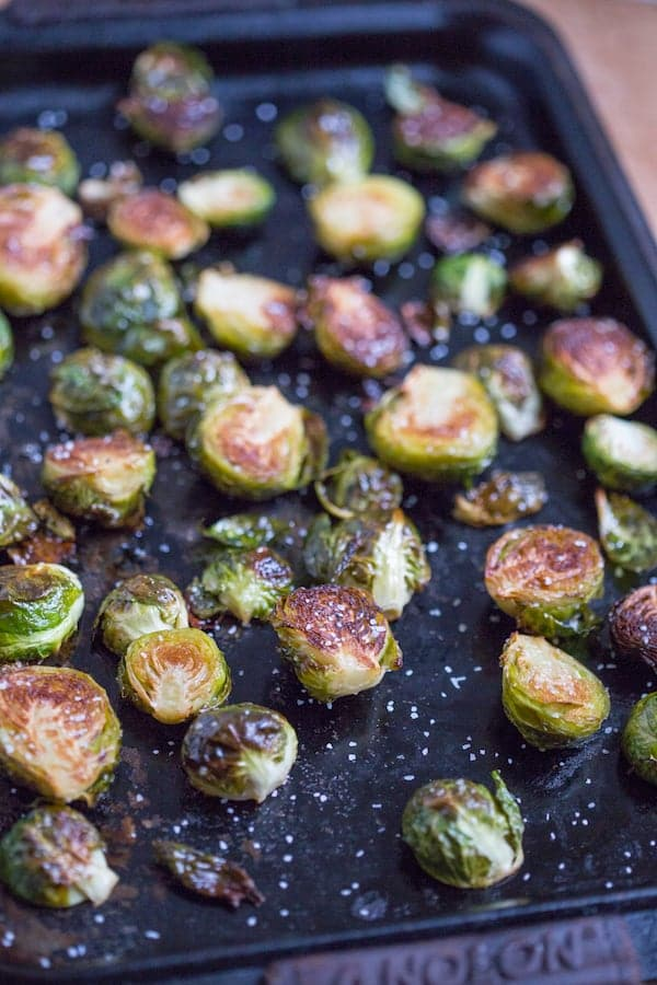 Brown Butter Roasted Brussels Sprouts on a Sheet Pan Beautifuly Cooked