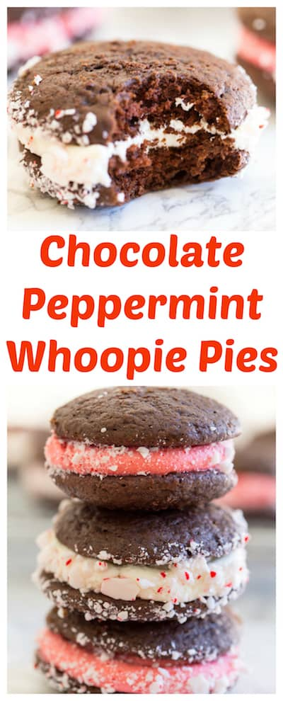 Chocolate Peppermint Whoopie Pies super long collage with text overlay