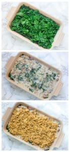 Creamed Kale Gratin Collage with Three Stages