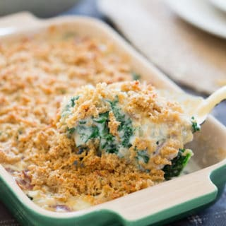 Creamed Kale Gratin - a Spoonful of the Delicious Meal