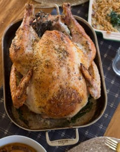 Garlic and Herb Mayonnaise Roasted Turkey - Holiday Dinner Served and Ready for Guests